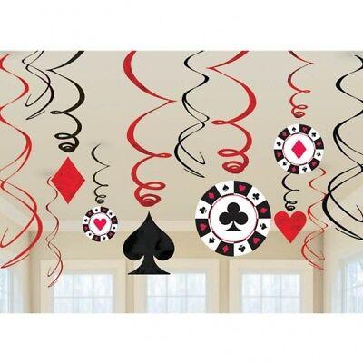 Swirl Girlande Raum Dekoration Casino Las Vegas Deko Black Jack Deko Party