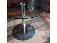 FUNKY RETRO JOHN LEWIS HND INGRID 4 SEATER GLASS & CHROME ROUND DINING TABLE