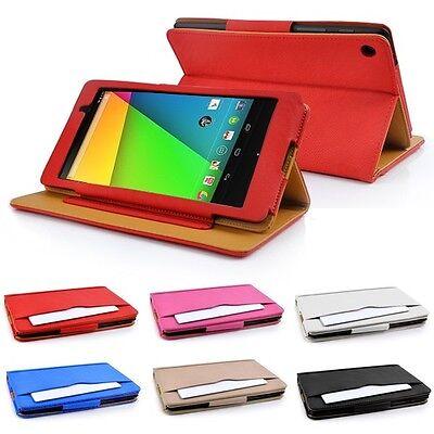 Google Nexus 7 II (2nd Generation) Tan leather Wallet Smart Flip Case Cover ()