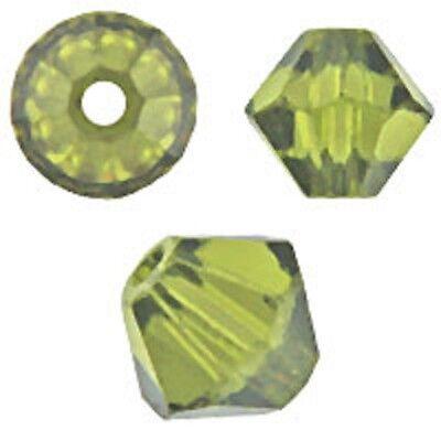 Swarovski Crystal Bicone. Olivine Color. 4mm. Approx. 144 PCS. 5328 Olivine Swarovski Crystal Bicone Bead