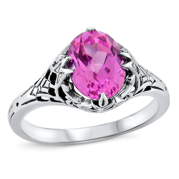 PINK LAB SAPPHIRE ART DECO ANTIQUE STYLE 925 STERLING SILVER RING SIZE 8    #450