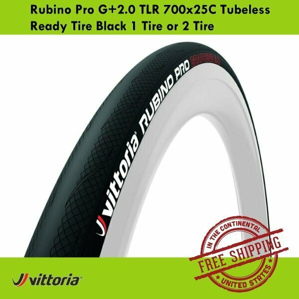 Vittoria Rubino Pro G+2.0 TLR Tubeless Ready Tire 700x25C Black 1 Tire or 2 Tire