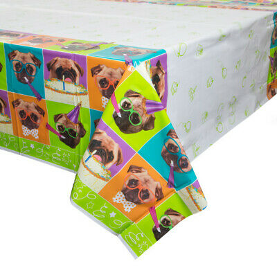 Pug Puppy Dog Happy Birthday Plastic Tablecover Childrens Party Table Decoration - Happy Birthday Pug