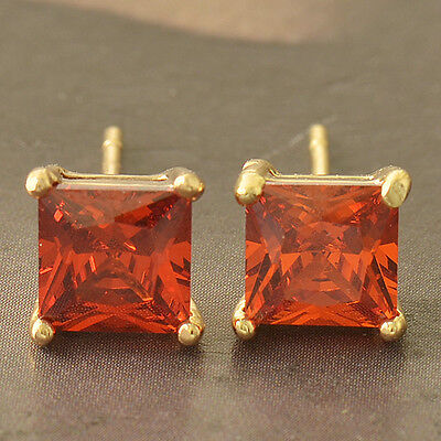 Pretty New Yellow Gold Filled 6mm Ruby Red Crystal CZ Square Stud Post Earrings