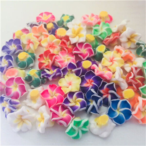 12 x MIXED FLOWER DETAILED CLAY BEADS 8MM