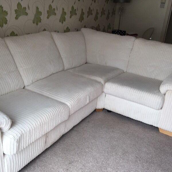 Dfs Sofa Beds Leather: DfS Cream Corduroy Corner Sofa Bed Settee
