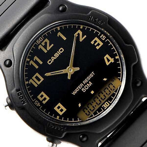 Casio AW49H-1BV Men's Dual Time Analogue Digital Water Resist Wrist Watch Black