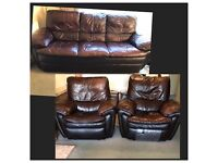 Brown leather 3 seater sofa and 2X electric recliner chairs