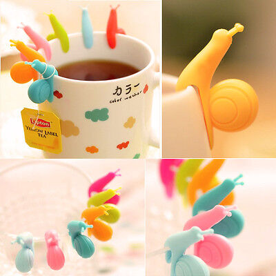 5x Cute Snail Shape Tea Bag Holders Silicone Mug Kitchen Gift Candy Colours UK