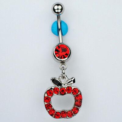 Apple January Birthstone Dangle Belly Button Navel Ring Teacher Jewelry (C26)   ](January 26 Birthstone)