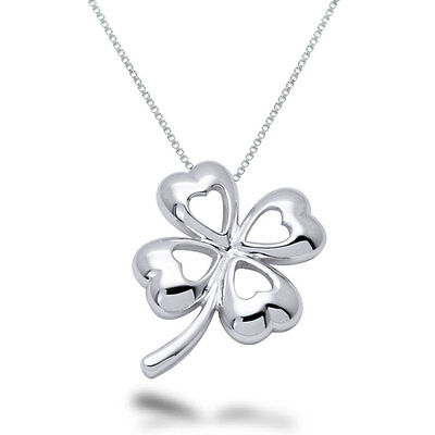 Sterling Silver Four Leaf Clover Hearts Pendant Necklace - SP084