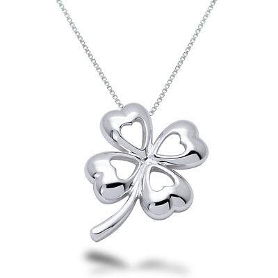 Sterling Silver Four Leaf Clover Hearts Pendant Necklace - SP084