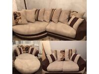 SCS Kirk 4 seater corner sofa, 2 seater, large cuddle chairs and puffy with upgraded foam cushions