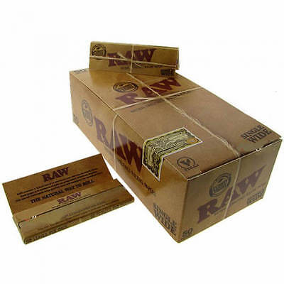 Raw Single Wide 1 0 Natural Hemp Gum Cigarette Rolling Papers   50 Pack Box