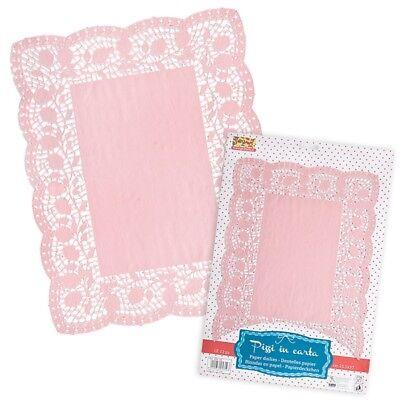 10 Kuchen-Deckchen, rosa , Papier-Torten-Spitze, Babyshower, Geburtstag Mädchen