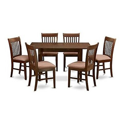 7 Piece Kitchen Nook Dining Set -Table With Leaf And 6 Dining Room Chairs NEW
