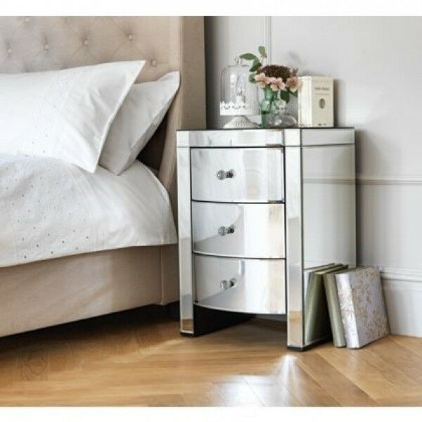 Heart of House Canzano 3 Drawer Mirrored Bedside Chest Table x2