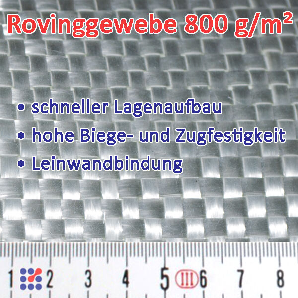 GLASFASERGEWEBE GLASGEWEBE ROVING FILAMENTGEWEBE F. POLYESTERHARZ EPOXIDHARZ GFK Glasgewebe 800 g/m²