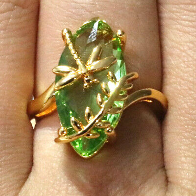 Gorgeous Marquise Green Peridot Ring Women Wedding Engagement Jewelry Gift