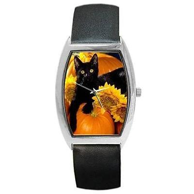 HALLOWEEN BLACK CAT PUMPKINS SUNFLOWERS BARREL WATCH and 9 MORE STYLES TO CHOOSE](Watch Halloween 9)