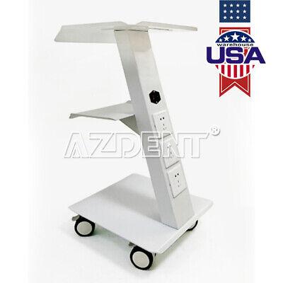 Dental Metal Built-in Socket Tool Cart Trolley Mobile Instrument Trolly New