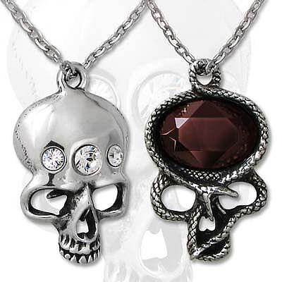 Alchemy Halskette The Demon in My Head Skull & Snake Long Dangler Gothic Schmuck (Head Kette Schmuck)