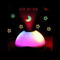 US 7 Colors LED Change Star Night Light Magic Projector Backlit Alarm Clock