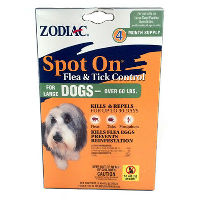 Zodiac Spot On, for Large Dogs over 60 lbs, flea and tick control, 4 pack