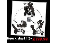 BRAND NEW HAUCK DUETT 2 BLACK tandem twin double pram pushchair buggy from birth to 3 &raincover
