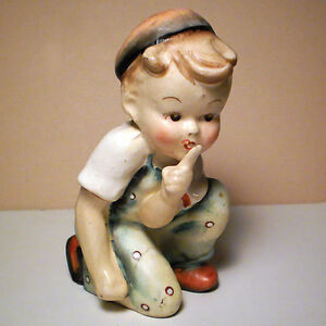 VINTAGE CHILD FIGURE MADE IN OCCUPIED JAPAN FINGER TO LIPS 1940'