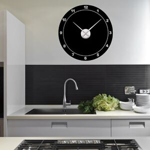 sticker mural horloge g ante ronde classique avec m canisme aiguilles ebay. Black Bedroom Furniture Sets. Home Design Ideas