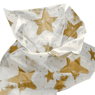 Gold Stars Tissue Paper - Gold Silver Stars & Dots on White Tissue Paper for Gift Wrapping 20