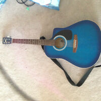 Art&Luthrie Blue Acoustic Guitar w/ 1/4in. pluggin