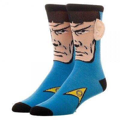 Spock With Ears   Star Trek 1 Pair Mens Crew Socks Blue 3D New 2017 Tos 50Th An