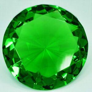 100mm Green Crystal Diamond Shape Paperweight Glass Gem Display Gift Ornament UK