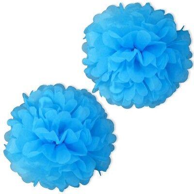 Pompom, HELLBLAU, 2 Stk, Puffbälle für Party-Raum-Dekoration, Babyshower ()