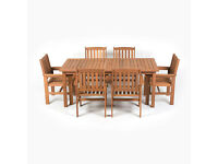 Greenfingers Chessington Balau 180cm Rectangular Table Set