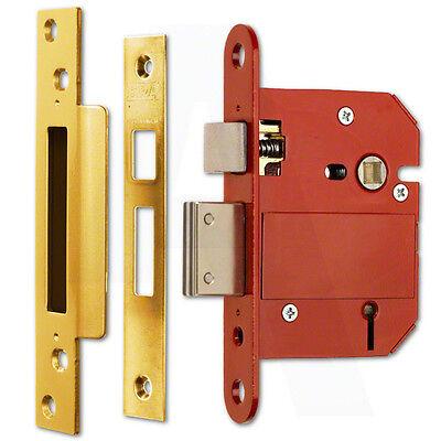 """ERA Fortress 26231 BS 5 Lever Sashlock 64mm(2.5"""") Brass Effect Mortice Door Lock"""