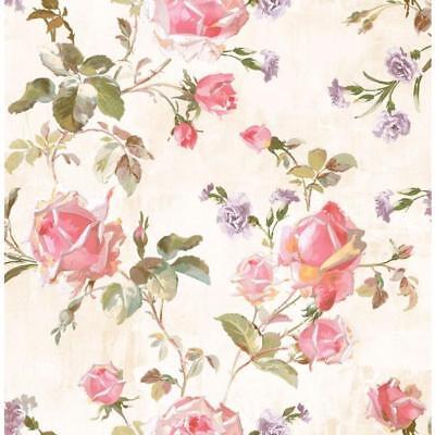 Wallpaper Designer Pink Red Lavender White Gold Green Rose Trail on Cream Faux