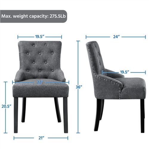 2pcs Dining Chairs Wingback Fabric Chair With Nailhead Trim and Wood Legs, Gray 3