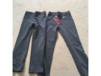 Girls grey school trousers X 2 one pair brand new with tags