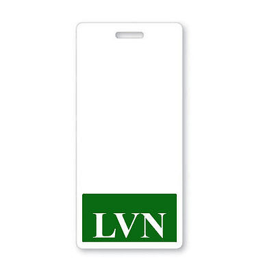 Lvn Vertical Badge Buddy With Green Border - Licensed Vocational Nurse Id Backer