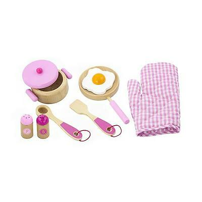 Childrens Pink Wooden Kitchen Cooking Set Pans, Oven Glove Pretend Play-Set Toy