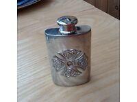 Celtic design pewter small hip flask
