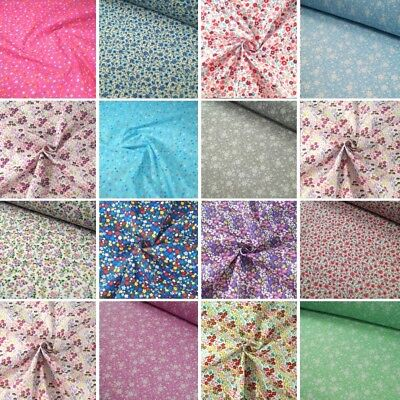 Polycotton Fabric Ditsy Floral Flower Collection Buy 3 Get 1 Free Flowers