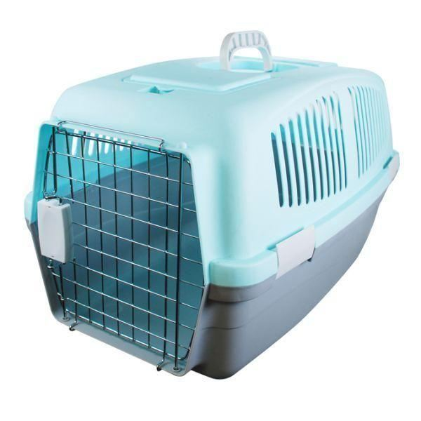 LARGE PLASTIC PET DOG CAT RABBIT CARRIER TRAVEL  BASKET CRATE CARRY HANDLE DOOR