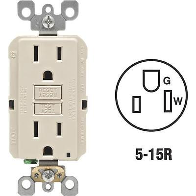 3 Pk Leviton Almond 5-15R Self-Test 2 Pole 3 Wire Electric Outlet R06-GFNT1-0KT