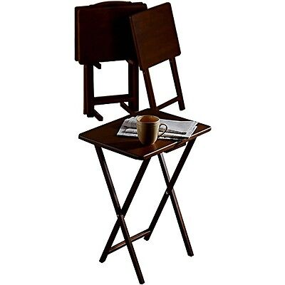 Set of 4 Tray TV Table + Stand Walnut Brown Folding Solid Wood Collapsible NEW