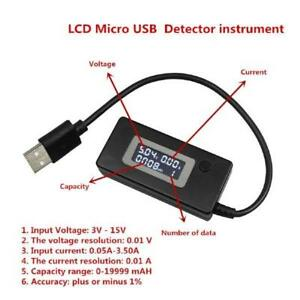 KCX Digital USB and MicroUSB LCD Mini Current and Voltage Detector Tester - USB - Black