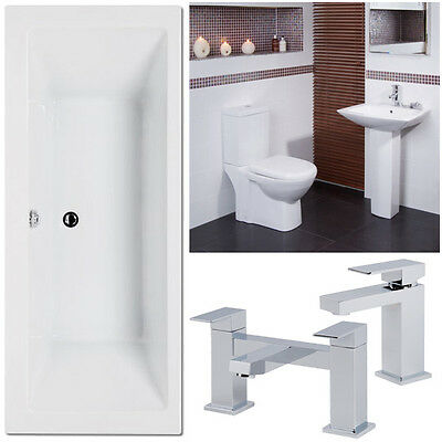 Square Acrylic Double ended Bath Toilet Basin Complete Bathroom Suite Tap Pack